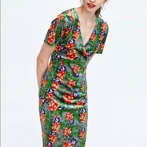 Zara Trafaluc Green Floral Velvet Dress Medum NWT